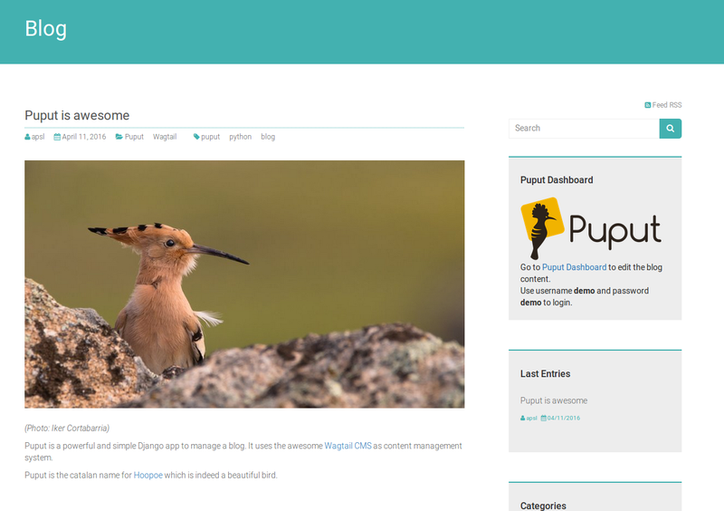Puput a django app for bloggers blog for Django site templates